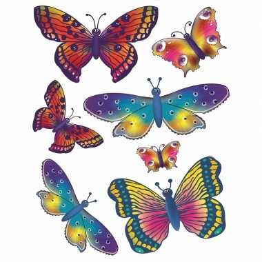 2x vellen met kinder raamstickers vlinders