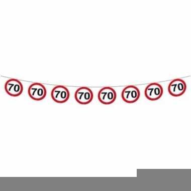 2x vlaggenlijn versiering 70 jaar verkeersborden 12 meter