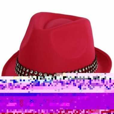 2x voordelige roze toppers hoed met zilveren steentjes