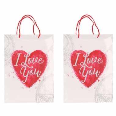 2x witte cadeautasjes love you 34 x 25 cm