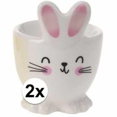 2x witte haas/konijn eierdop 7 cm