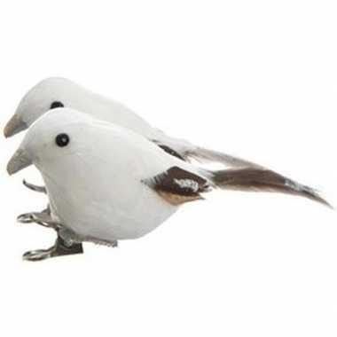 2x witte vogels kerstversiering clip decoraties 4 cm