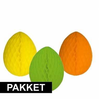 3 decoratie paaseieren pakket vrolijke kleuren 10 cm