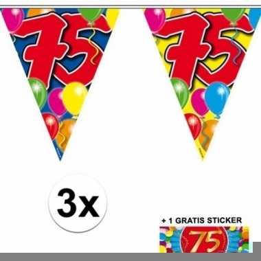 3 gekleurde slinger 75 jaar met sticker