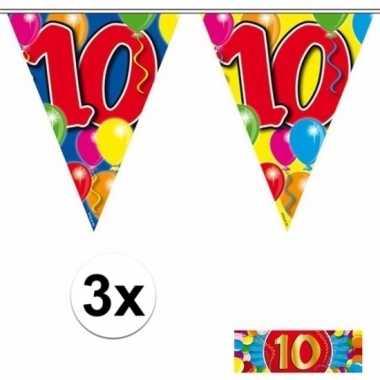 3 gekleurde slingers 10 jaar met sticker