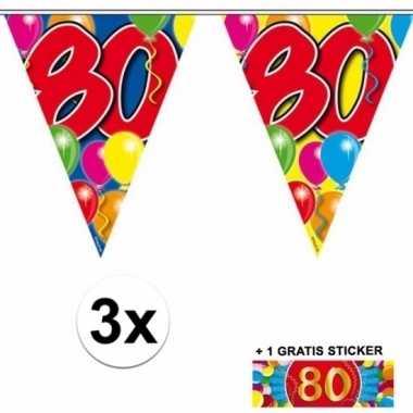 3 gekleurde slingers 80 jaar met sticker
