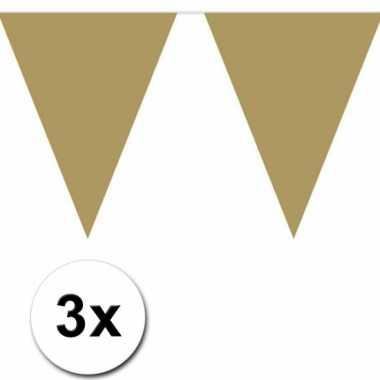 3 gouden plastic vlaggenlijnen