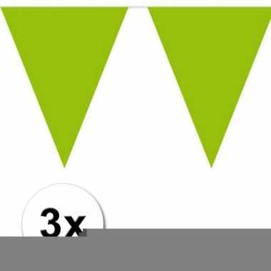 3 groene plastic vlaggenlijnen