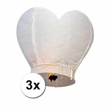 3 hartvormige wensballonnen wit 100 cm