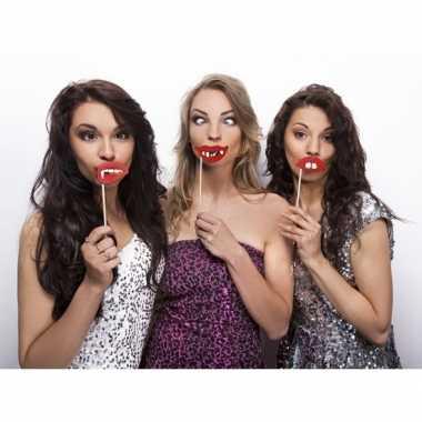 3 lippen photo props op stokje