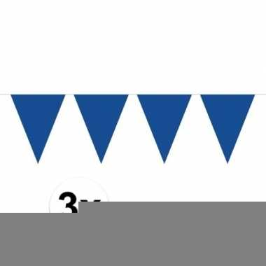 3 stuks blauwe vlaggetjes slinger van 10 meter