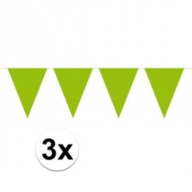 3 stuks limegroene vlaggetjes slinger van 10 meter