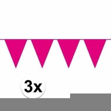 3 stuks roze vlaggetjes slinger van 10 meter