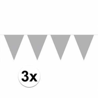 3 stuks zilveren vlaggetjes slinger van 10 meter