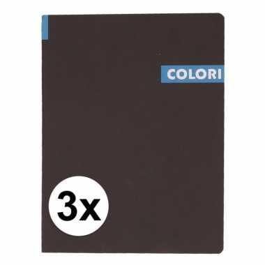 3 x opschrijfboek b5 96 blauwe vellen met lijntjes