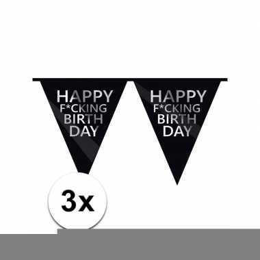 3 x zwarte fucking birthday vlaggenlijn brutaal