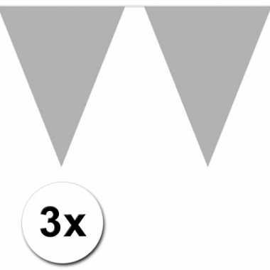 3 zilveren plastic vlaggenlijnen
