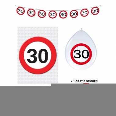30 jaar versiering pakket verkeersbord basic
