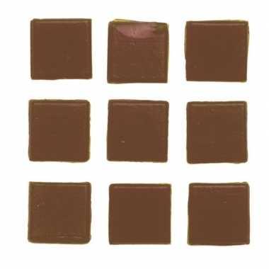 30 stuks vierkante mozaieksteentjes bruin 2 cm