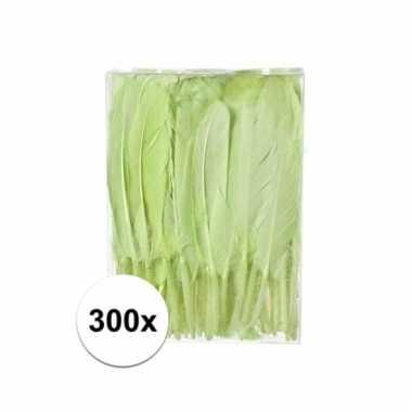 300x groene sier veren 13 cm