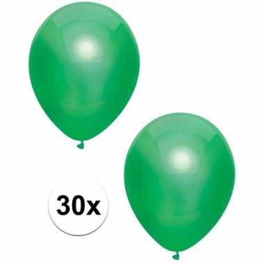 30x donkergroene metallic ballonnen 30 cm