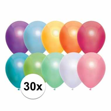 30x gekleurde metallic ballonnen 30 cm