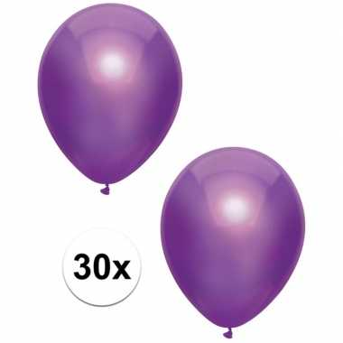 30x paarse metallic ballonnen 30 cm
