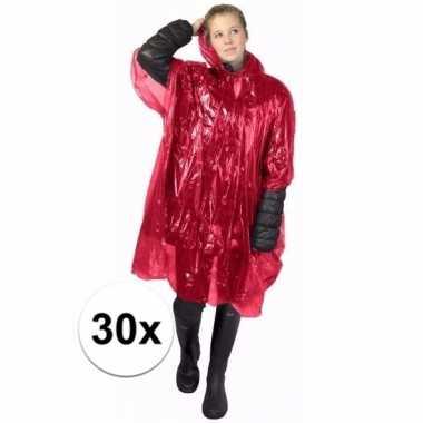 30x rode poncho met capuchon voor volwassenen