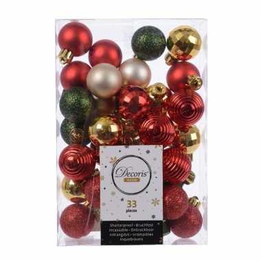 33x kerstversiering kerstballen mix rood/ champagne/ goud/ groen