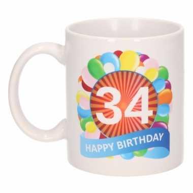 34e verjaardag cadeau beker / mok 300 ml