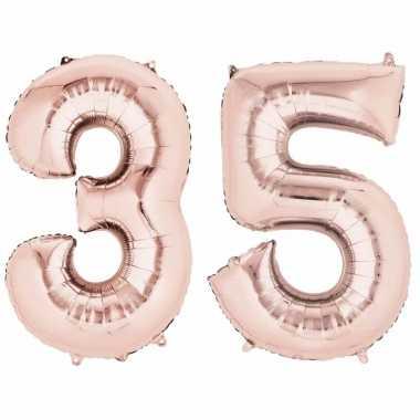35 jaar versiering cijfer ballon rose goud