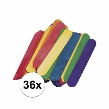 36 gekleurde ijsstokjes knutselhoutjes 15 x 2 cm