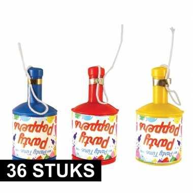 36x party poppers champagne met gekleurde confetti
