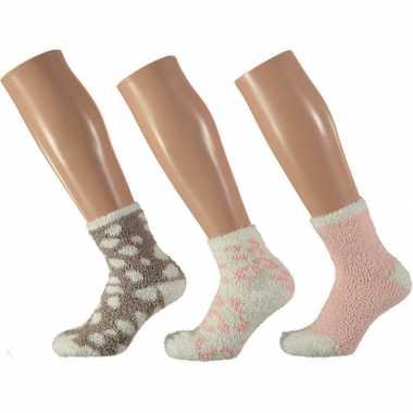 3x bedsokken panterprint roze/wit voor dames