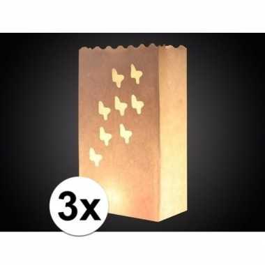 3x candle bag vlinder print 26 cm