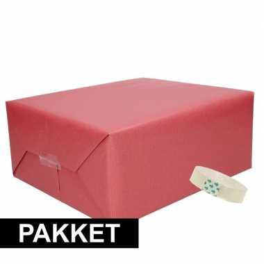 3x donker rood kraft inpakpapier met rolletje plakband pakket 14