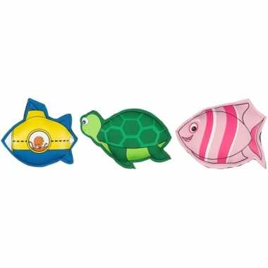 3x duikspeelgoed figuurtjes gekleurd