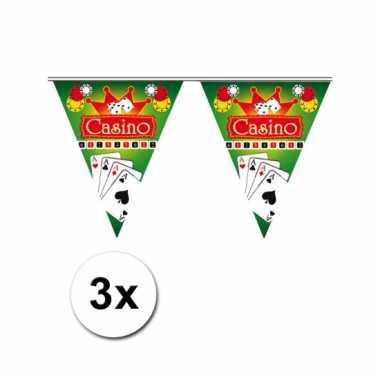 3x feestdecoratie vlaggenlijn casino