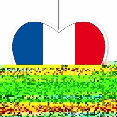 3x frankrijk hangdecoratie harten 28 cm