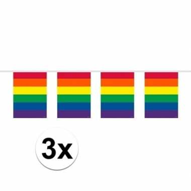 3x gay pride regenboog vlaggenlijnen 10 meter