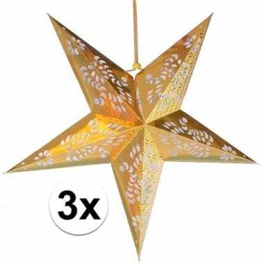 3x gouden decoratie ster 60 cm