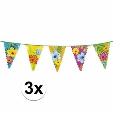 3x hawaii themafeest vlaggenlijnen 6 m