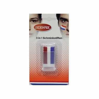 3x holland schmink stick rood wit blauw