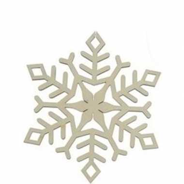 3x houten sneeuwvlok type 1 kerstversiering hangdecoratie 10 cm