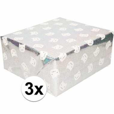 3x inpakpapier/cadeaupapier zilver poes/kat 200 x 70 cm op rol