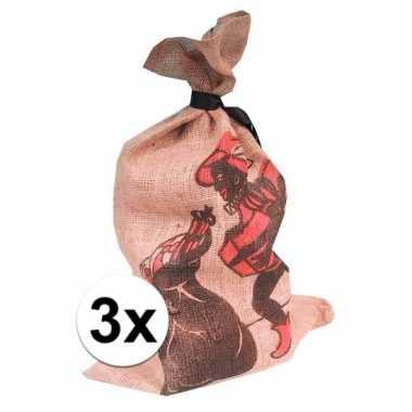 3x jute zakken sinterklaas met opdruk