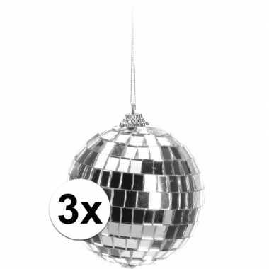 3x kerstboom decoratie discoballen zilver 8 cm
