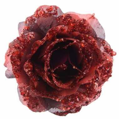 3x kerstboom decoratie roos rood 14 cm