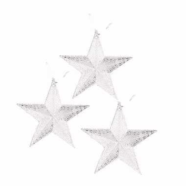 3x kerstboom decoratie zilveren ster hanger 10 cm trend
