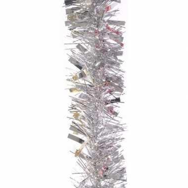 3x kerstboom folie slinger zilver 200 cm